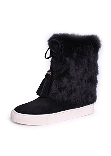 burch anjelica black suede and rabbit fur boots