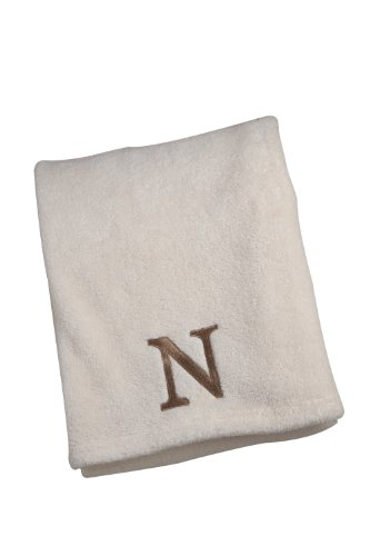 NoJo Ivory Embroidered Blanket, Letter N