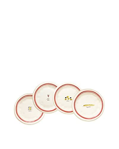 Rae Dunn by Magenta Set of 4 French Picnic Plates, White