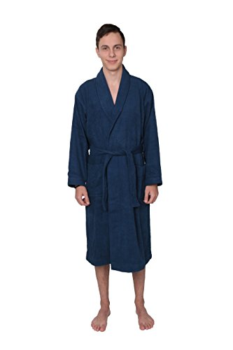 Men's 100% Cotton Terry Cloth Bathrobe Blue (X-Large, Blue) (Cool Bath Robes For Men compare prices)