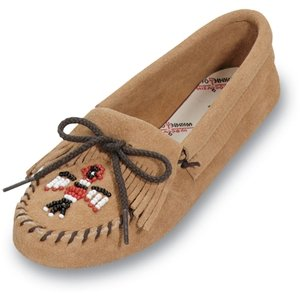 Minnetonka Women's Thunderbird Soft Sole Suede Moccasins,Tan Suede,7 M US