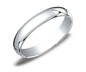 Men's Platinum 4mm Traditional Plain Wedding Band with Luxury High Polish, Size 10