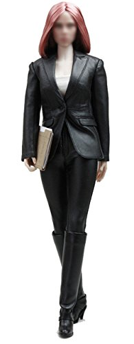 Koveinc Captain America Costume Black Widow Black PU Leather Suit