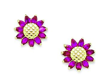 14ct Yellow Gold Red CZ Sunflower Screwback Earrings - Measures 10x10mm