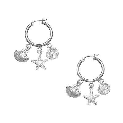 Cute and Stylish Jewelry Earrings 925 Sterling Silver Hoop w/ Starfish and Seashell Charms (WoW !With Purchase Over $50 Receive A Marcrame Bracelet Free)