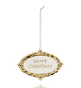 Ceramic Plaque Christmas Tree Decoration - Antique Gold Range