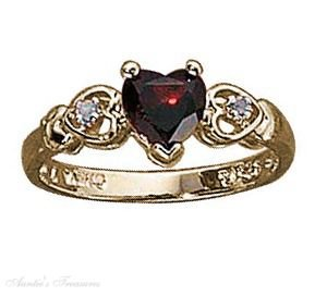 Gold Vermeil Garnet Heart Ring Size 7