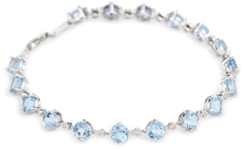 14k White Gold Blue Topaz and Diamond Tennis Bracelet, 7.25