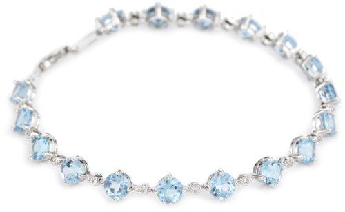 14k White Gold Blue Topaz and Diamond Tennis Bracelet, 7.25