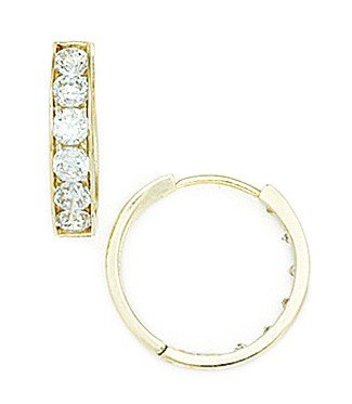 14ct Yellow Gold CZ Large Round Hinged Earrings - Measures 16x16mm