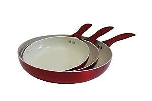 CONCORD 3 Piece Ceramic Non Stick Fry Pan Set (Induction Compatible)