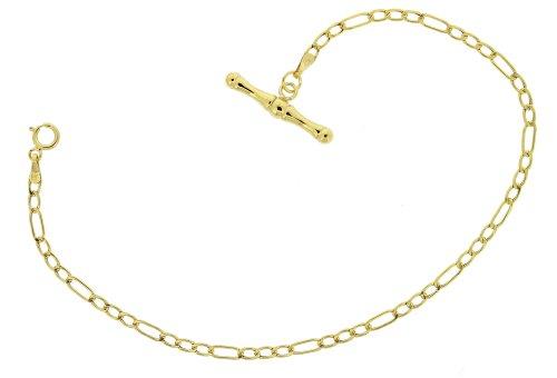 9ct Yellow Gold Figaro T Bar Bracelet 19cm
