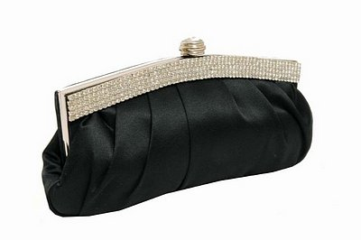 Black satin pleated body diamante trim clutch bag 
