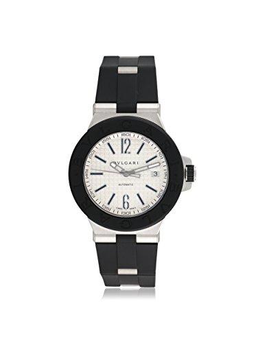 Bulgari Men's Pre-Owned Diagono Silver/Black Rubber Watch