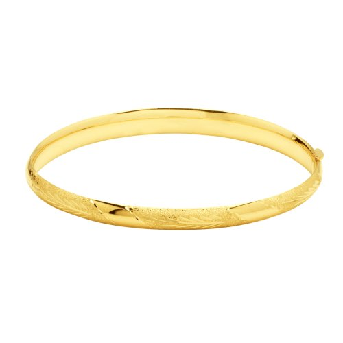 Duragold 14k Yellow Gold Diamond-Cut Bangle Bracelet (5mm)