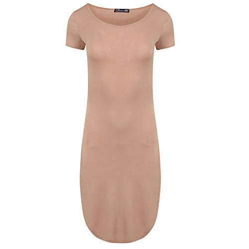 Da donna, ispirata a far spacco laterale con orlo curvo Midi Dress Bodycon con maniche Mocha - Celeb inspired Dress Kim Kardashian