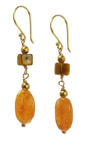Geometric Tigers Eye Square and Red Aventurine Ovals Drop Earrings