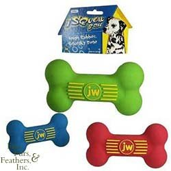 JW Pet Company Insight Squeak Bone 4.75in Sm. Rubber Dog Toy Assorted Colors