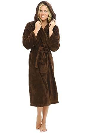 Del Rossa Women's Classic Fleece Hooded Bathrobe Robe, Small Medium Chocolate Brown (A0115WCTMD)