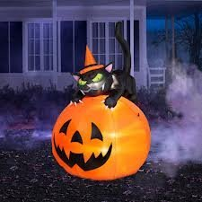 6 ft Tall Airblown Inflatable Halloween Cat Over Jack-o-Lantern