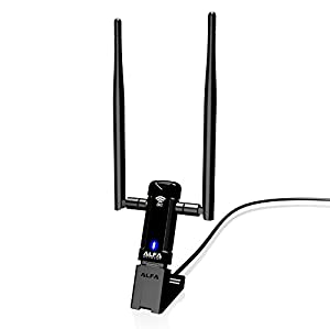 Alfa Long-Range Dual-Band AC1200 Wireless USB 3.0 Wi-Fi Adapter w/2x 5dBi External Antennas - 2.4GHz 300Mbps / 5Ghz 867Mbps - 802.11ac & A, B, G, N