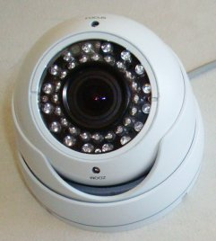 "1/3"" Sony Color CCD Indoor and Outdoor Vandal Proof Dome Camera, 3.5mm to 8mm Varifocal Lens, 540 TVL, with 36 LED (White), !!! MADE IN KOREA, NOT CHINA, WITH GENUINE JAPANESE CHIPSET !!!"