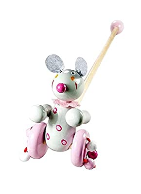 Children's Push Along Toy Wooden Mouse Baby or Toddler Girl from Mousehouse Gifts