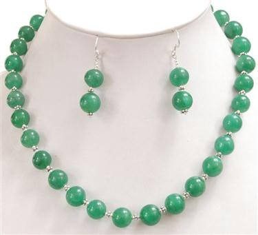 Natural Charming Single Strand Cabochon Jade Beaded Necklace with Free Earrings