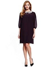 M&S Collection Diamanté Collar Chiffon Dress