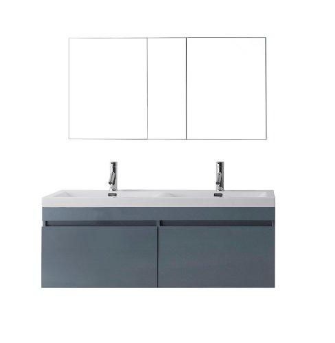 Virtu Usa Jd 50355 Gr Modern 55 Inch Double Sink Bathroom Vanity Set With Polished Chrome Faucet