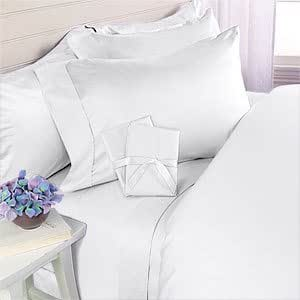 600 Thread Count Egyptian Cotton 600TC Sheet Set, Queen, White Solid