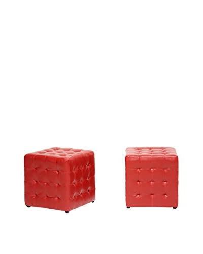 Baxton Studio Set of 2 Siskal Modern Cube Ottomans