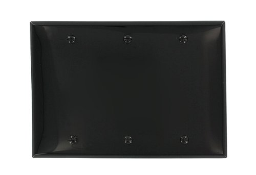 Leviton 80735-E 3-Gang No Device Blank Wallplate, Standard Size, Thermoplastic Nylon, Box Mount, Black