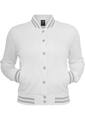 Urban Classics Ladies Metallic College Sweatjacket, Color:wht/sil;Größe:M