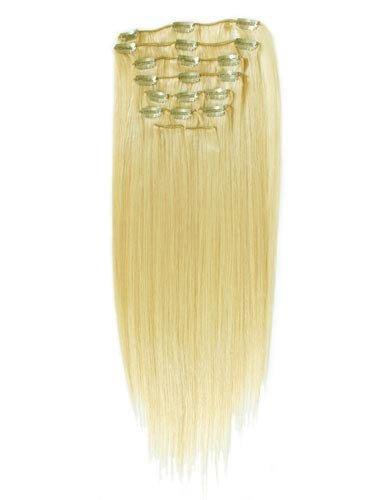 Clip-In-Extensions für komplette Haarverlängerung - hochwertiges Remy-Echthaar - 100 g - 45 cm - Naturblond - 22