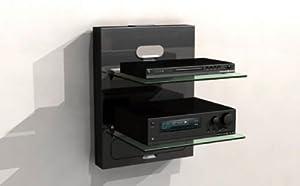 Mobile a parete porta dvd 2 ripiani colore nero elettronica - Porta dvd da parete ...