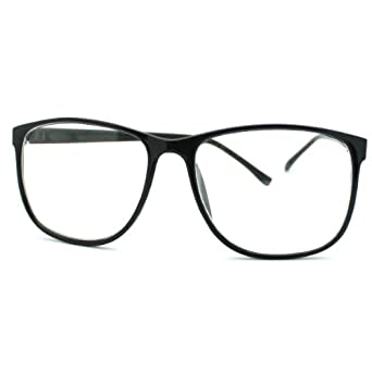 Large Rectangular Glasses Frame : Black Large Rectangular Thin Plastic Frame Clear Lens ...