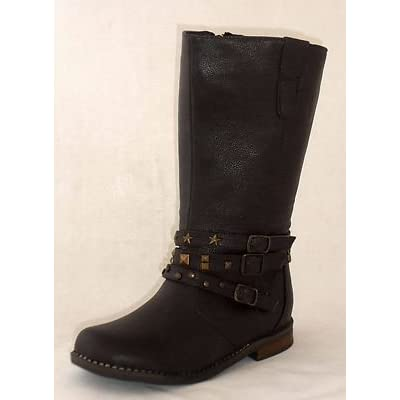 Girls Dark Brown calf length studded buckle straps cowboy style boots NEW