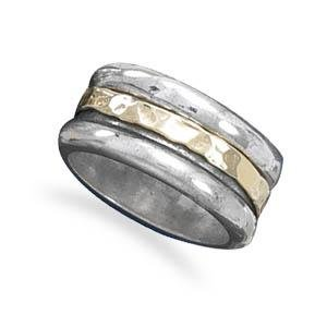 14K Gold and Hammered Sterling Silver Band Spin Ring, 6