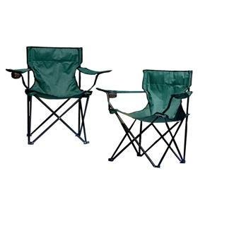 Folding camp chair with cup holder red green or blue