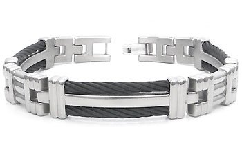 Men's Grey Titanium Black Twisted Cable Link Bracelet