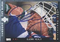 Glenn Healy, New York Rangers, 1996 Upper Deck Through the Glass Autographed Card