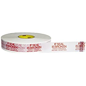 Scotch Printed Message Box Sealing Tape 3771 White If Seal is Broken Check Contents Before Accepting, 48 mm x 914 m (Pack of 1)