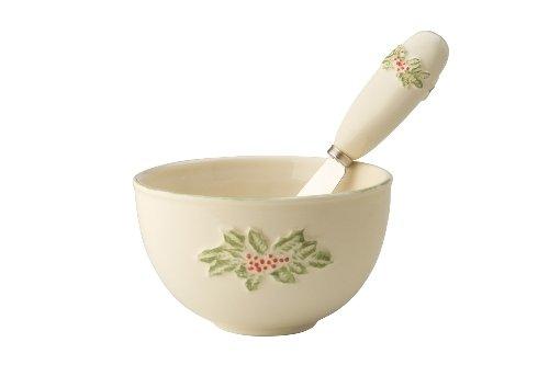 October Hill Holly Spray Ceramic Dip Bowl And Spreader Set