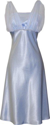 Satin chiffon prom dress holiday formal gown bridesmaid crystals knee