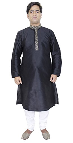 Abbigliamento Uomo indiano - nero kurta pigiama etnico usura india - 112 cm 'xl'