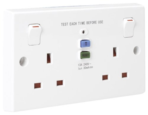 31OhFCSZCHL - BEST BUY #1 Powerlectrik RCD 2 Gang Double Switched 13 Amp Socket Outlet For Safe use of Power tools and garden appliances Reviews and price