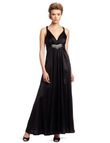 ABS Allen Schwartz Women's Criss Cross Back Gown With Embellishment, Black, 12