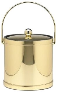 Kraftware Mylar Polished Brass 3-Quart Ice Bucket With Bale Handle, Bands And Metal Cover