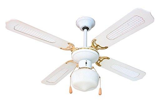Zephir ZFS9107B Ventilatore da soffitto 4 pale in legno bianco con inserti in paglia di Vienna